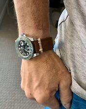 22mm BROWN Vintage Crazy Horse Leather Watch Strap Band TAN Modern Stitch