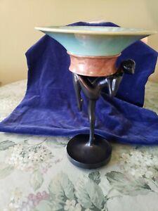 Frankart Art Deco Nude Holding Original Fulper Pottery Dish
