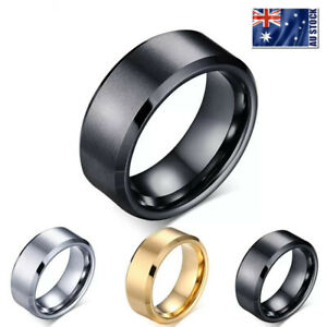 Titanium Stainless Steel 8mm Brushed Finish Men Women Wedding Band Comfort Ring