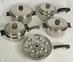 Saladmaster 18-8 Tri Clad Stainless Waterless Stockpot Poacher Pan 18 Pc set USA