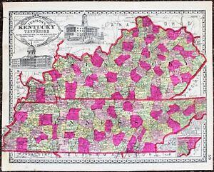 1889 Tennessee Kentucky Map Louisville Memphis Nashville Lexington Knoxville