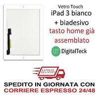 TOUCH SCREEN VETRO Apple iPad 3 WiFi e 3G MOD. A1416 A1430 A1403 BIANCO TASTO