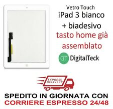 VETRO TOUCH SCREEN Apple iPad 3 WiFi e 3G MOD. A1416 A1430 A1403 BIANCO TASTO