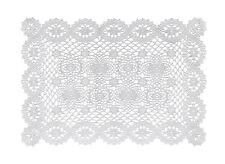 Vinyl Placemats Plastic Table Mats Kitchen Dining White Lace Print Set 4
