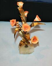 UNIQUE HAND MADE RETRO FLOWER SCULPTURE CENTERPIECE CERAMIC FLOWERS BRASS LEAVES