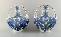 A pair of faience vases, Art Nouveau. Design by Alf Wallander for Rörstrand.