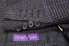 RALPH LAUREN PURPLE LABEL men's suit 100% cashmere dark gray plaid 44L