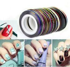 30PCS Mix Color Rolls Striping Tape Line DIY Nail Art Decoration Sticker L7S