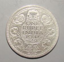 BRITISH INDIA 1941 GEORGE VI ONE RUPEE SILVER COIN BEAUTIFUL