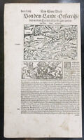 1598 Sebastian Munster, Urs Graf Antique Print Engravings to Text Map of Austria
