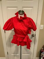 ALEXACHUNG Red Ruffle Wrap Shirt With Puff Sleeves, Size 4 (US), 8 (UK)