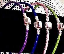 Lot 4 Bracelets Femme,Homme,Cuir Tressé Fin,Argent,Bleu,Violet,Vert,Rose,Tendanc