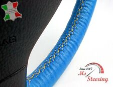 FOR SAAB 9-5 AERO 11-11 BLUE LEATHER STEERING WHEEL COVER, YELLOW 2 STIT