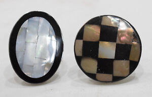 Ring 2  Inlaid Mother of Pearl  Stainless Steel Adjustable Ring Indonesia