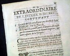 Rare 17th Century EARLIEST OF NEWSPAPERS 1641 Paris FRANCE French Old Periodical