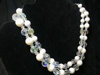 Vintage Double Strand Milk White Glass Bead & Aurora Borealis Choker Necklace