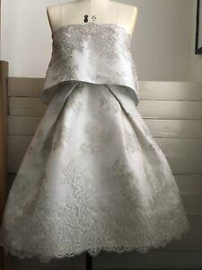 Exquisite Monique Lhuillier Dress Pale Duck Egg Blue & Silver Lace Bridal,Unique