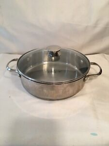 """Wolfgang Puck Bistro Collection 10"""" Casserole dish Stainless Steel with lid"""