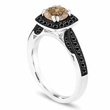 Platinum 1.21 Carat Champagne Brown Diamond Engagement Ring Halo Pave