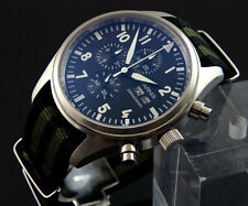 Parnis Stainless steel 42mm quartz Full chronograph mens watch 1046