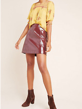 Anthropologie Faux Patent Leather Skirt in Wine, NWT, sz.10 orig$98 new Arrival