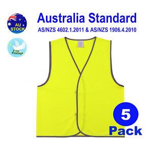 MakRear 5x Hi vis Safety Workwear Work Vest  Work Size Light Weight Yellow