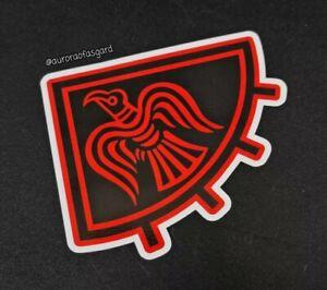 Precut Red Viking Huginn & Muninn Raven Sticker, Decal Norse Odin Asatru Heathen