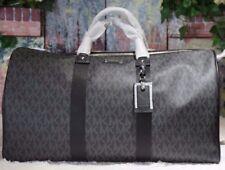 NWT MICHAEL KORS MK Signature XL TRAVEL Duffel Bag In BLACK PVC/Leather $498