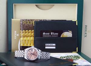 ROLEX Ladies 26mm White Gold & SS Datejust Rose Index Dial 179174 SANT BLANC