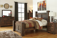 Country Cottage Brown Finish 5 pieces Bedroom Set w/ Queen Size Poster Bed IA0K