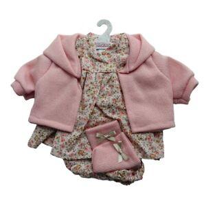 Llorens Dolls Clothes Cream/Pink Flower Dress Set 42cm