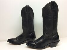WOMENS UNBRANDED COWBOY LEATHER BLACK BOOTS SIZE 6 M