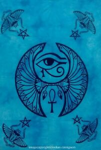 Poster Small Blue Color Eye Of Horus Design Tapestry Wall Hanging Cotton Ethnic