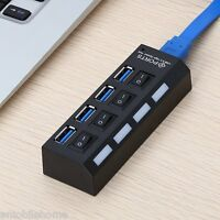 4 Port USB 3.0 Hub with Individual Power Switches LED Light