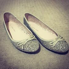 New Look Ballet Flat Shoes Gold Glitter Bow Round Toe Ribbon Slip on broderie