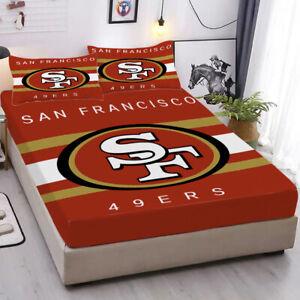 San Francisco 49ers Fitted Sheet Pillowcases Deep Pocket Sheets Bedding Set 3PCS