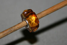 Original Trollbeads -  Carved Diamond Nugget Amber Bernstein - Unique OOAK Rare