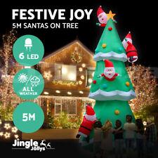 Jingle Jollys Inflatable Christmas Santa on Tree Xmas Decoration Lights LED 5M