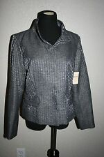 NEW WITH TAGS~COLDWATER CREEK~SHIMMER HOUNDSTOOTH JACKET~SIZE 10~ SILVER GRAY