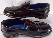 Men's RED TAPE Shoes Genuine Leather Casual Loafers Size 8 Black Rubbed Burgundy