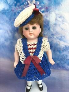 "Mignonette all bisque doll crochet dress set Susan Hitzel 5"" French German"