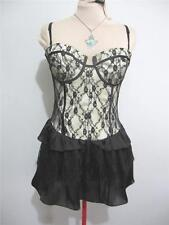 "Evening Cocktail ""NWT"" DRESS Size 12 Black Gold Lace Party Lace LUCY IN THE SKY"