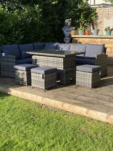 Grey Rattan Garden 9 Seater Corner Sofa Dinning Set With Rising Table 3x Stool