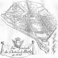 YVELINES. The generale du Chateau de Marly en 1686 1880 old antique print