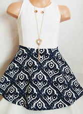 GIRLS WHITE & NAVY BLUE BAROQUE PRINT CONTRAST SHORT LENGTH PARTY DRESS age 3-4