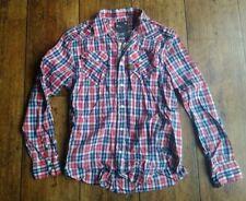 Mens Designer G-STAR checked shirt - Red white blue - Size XL