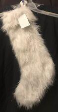 "Isaac Mizrahi (22"") White Silver Tinsel Faux Fur Christmas Stocking NWT"