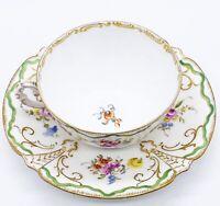 """Antique 1890s Dresden Richard Wehnsner Gold Detailed Floral Cup & Saucer 6""""W 3""""H"""