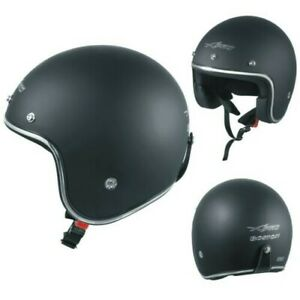 Motorcycle Helmet Jet Approved Ece 22-05 Black Matt Custom Scooter Naked Chopper