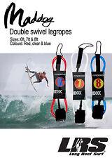 NEW Maddog Double Swivel Legrope Surfing Leash 6ft, 7ft & 8ft Surfboard Leg Rope